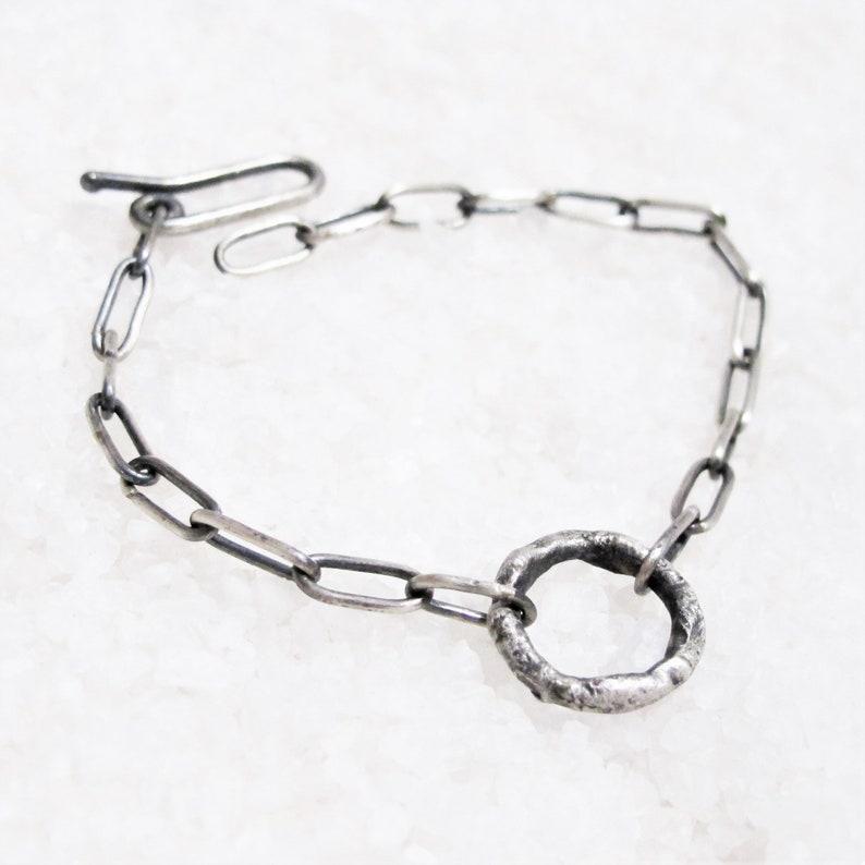 oxidized silver chain bracelet erotic jewel slave master Discreet collar bracelet BDSM rustic organic silver