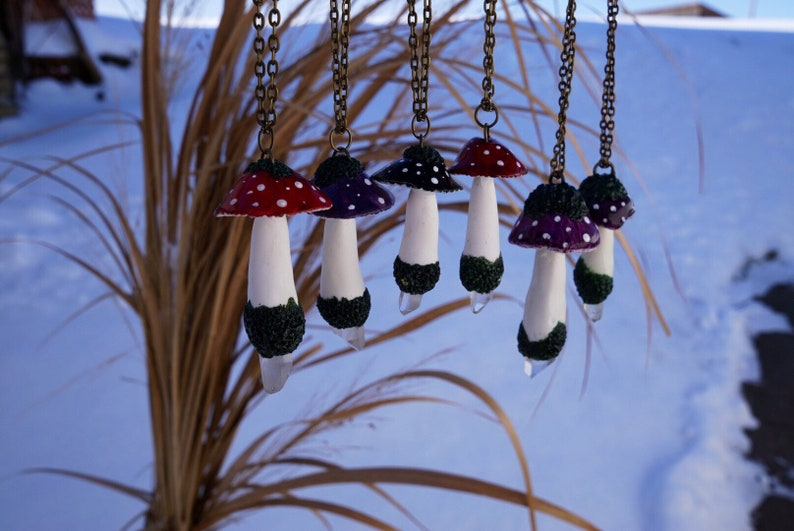 Mushroom necklace fantasy with rock crystal pendant magical purple toadstool