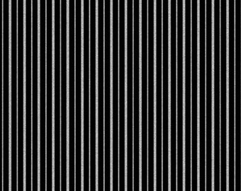 Silver Metallic Stripes Black Fabric by Greta Lynn for Kanvas Studio - One Yard