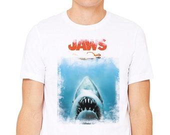 43ccad3ae7f9 JAWS T shirt Men Women Kids Sizes XS - 5XL 100% Cotton Tee Movie Retro 70's  Cult Classic Horror Gift Shark
