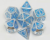 7pcs set Light Blue Metal Dice, Board Game Supplies, Party Favors Dice, TRPG Metal Dice, Dungeons and Dragon Dice, DND Dice, Polyhedral Dice