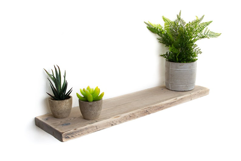 factory authentic e25c1 5cf66 Rustic Floating Shelves handmade from solid wood Shabby Chic finish | 15cm  deep, 2.5cm thick bookshelf comes complete with fixings