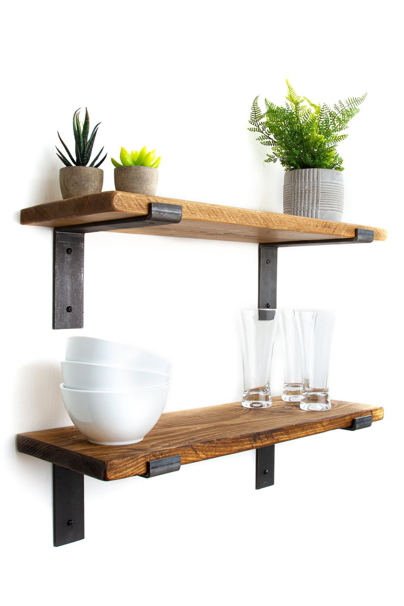 Rustic Shelves Solid Wood Wall Shelf Comes With 2 Industrial Metal Shelf Brackets And Fixings 22cm Deep 2 5cm Thick Kitchen Shelves