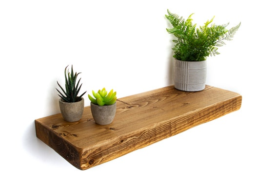 22cm x 5cm Chunky Wood Shelf With Hidden Wall Brackets Rustic Floating Shelves