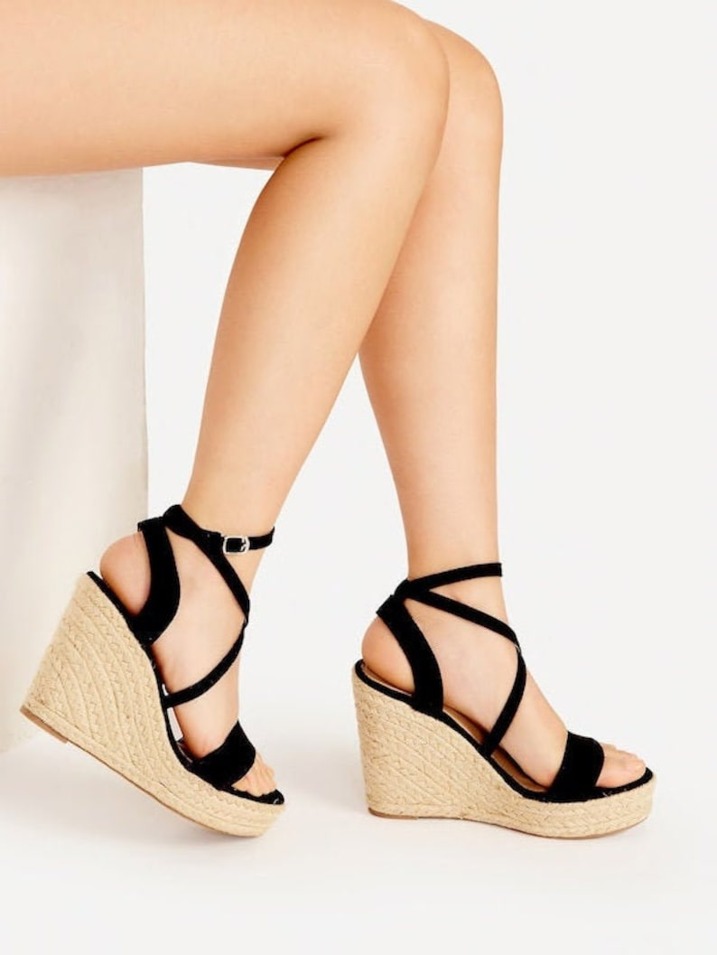 c9c4bb9fb26 Cross Strap Espadrille Wedges
