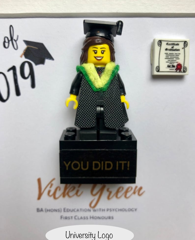 Personalised Lego Brick with Graduate made with Lego Graduation Gift Well Done