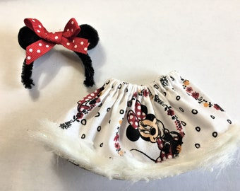 Minnie Mouse Elf Skirt with Mickey Ears Headband by Christmas Shelf Clothes for 12 Inch Girl Elf or Pixie