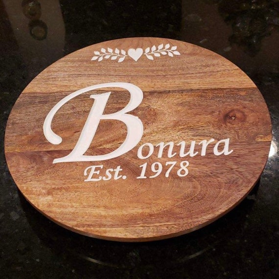 Lazy Susan, engraved