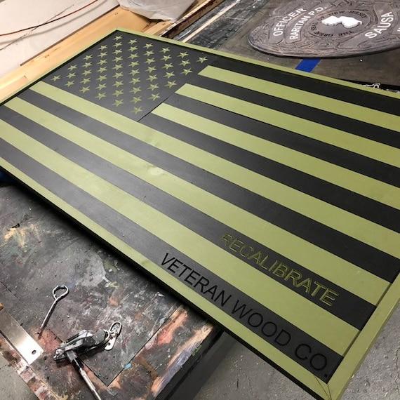 Subdued American Flag, wood.