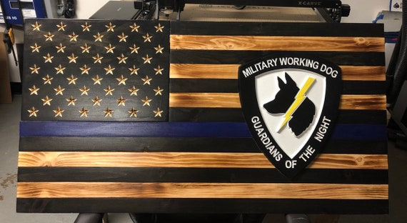 Thin Blue Line American Flag, stained/burnt wood.