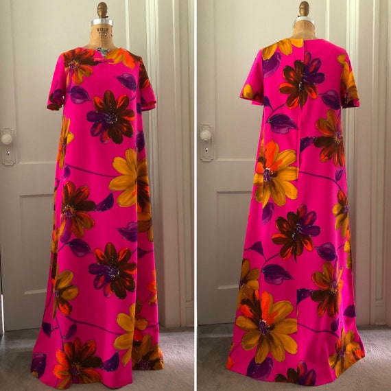 1960s Big Watercolor Floral Long Dress with Short