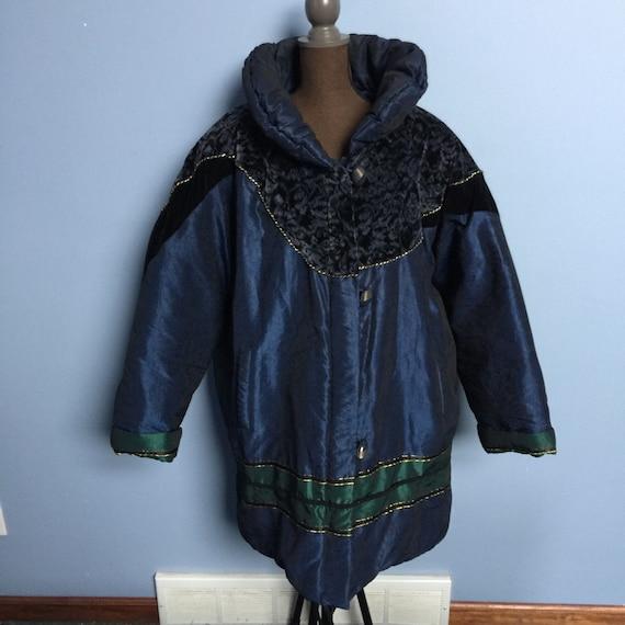 Vintage Komitor 80s Velvet-Detail Puffer Coat