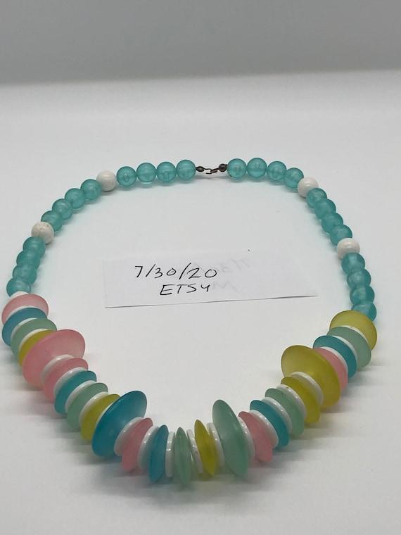 Vintage pretty pastel necklace - image 1