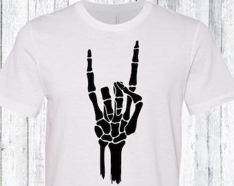 Rock n Roll Skeleton Hand Cool Halloween Youth Kids T-Shirt