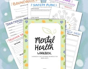 Mental Health Workbook | Mental Health Journal | Self Help Worksheets | Self Love | Mood Tracker | Self Care | Mental Health Printables