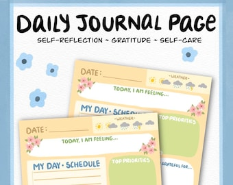 Daily A4 Journal Page | Self-Care | Self-Help | Planner Pages | Mental Health | Gratitude | Bujo Printables | School | Bullet Journal | PDF