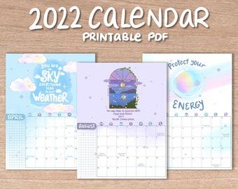 2022 Calendar, Printable Wall Calendar, Illustrated Calendar, Watercolor Art Calendar, Self Care Calendar, Quotes, DIGITAL DOWNLOAD