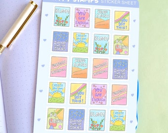 Happy Stamps Sticker Sheet | Planner Sticker Sheet | Self Care Journal Stickers | Illustrated Stickers | Coffee Tea Stickers | Matte