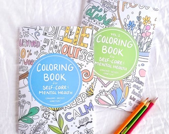 Coloring Book Set - Coloring Books for Self Care and Mental Health | Self Care Journal | Adult Coloring Book | Activity Book | PHYSICAL COPY