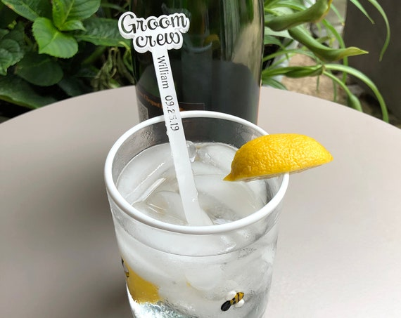 Groom Crew Wedding Swizzle Sticks with Name and Special Date Set of 6