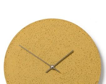 Concrete wall clock - Clockies CL300807 - circle, diameter 29 cm, color yellow, titanium hands