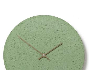 Concrete wall clock - Clockies CL300707 - circle, diameter 29 cm, color green, titanium hands