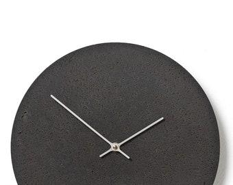Concrete wall clock - Clockies CL300205 - circle, diameter 29 cm, color slate, silver hands