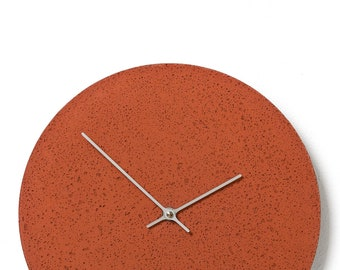 Concrete wall clock - Clockies CL300605 - circle, diameter 29 cm, color red, silver hands