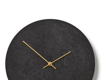Concrete wall clock - Clockies CL300306 - circle, diameter 29 cm, color anthracite, golden hands