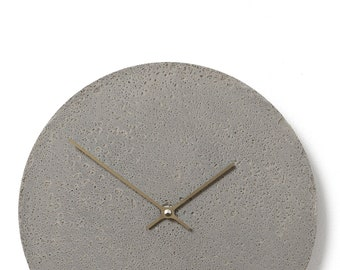 Concrete wall clock - Clockies CL300107 - circle, diameter 29 cm, color grey, titanium hands