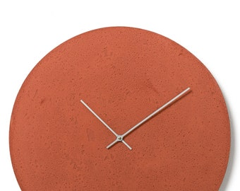 Concrete wall clock - Clockies CL500605 - circle, diameter 49 cm, color red, silver hands
