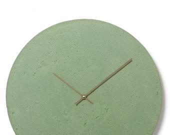 Concrete wall clock - Clockies CL500707 - circle, diameter 49 cm, color green, titanium hands