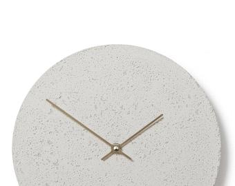 Concrete wall clock - Clockies CL300407 - circle, diameter 29 cm, color white, titanium hands