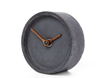 Concrete table clock - Clockies CT100304 - circle, diameter 10 cm, color anthracite, walnut wood hands