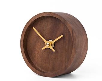 Wooden table clock - Clockies CT105206 - circle, diameter 10 cm, walnut brown, aluminium hands