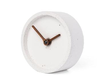 Concrete table clock - Clockies CT100404 - circle, diameter 10 cm, color white, walnut wood hands