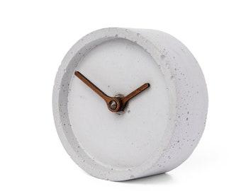 Concrete table clock - Clockies CT100104 - circle, diameter 10 cm, color grey, walnut wood hands