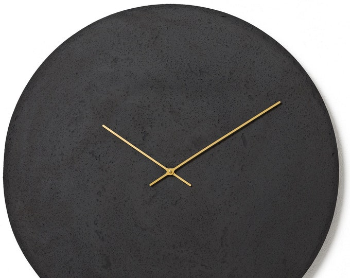 Featured listing image: Concrete wall clock - Clockies CL700306 - circle, diameter 69 cm, color anthracite, golden hands