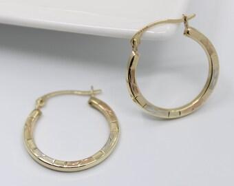 Unique Vintage 14K Tri Color Gold 1 Rosebud Flower Hoop Earrings