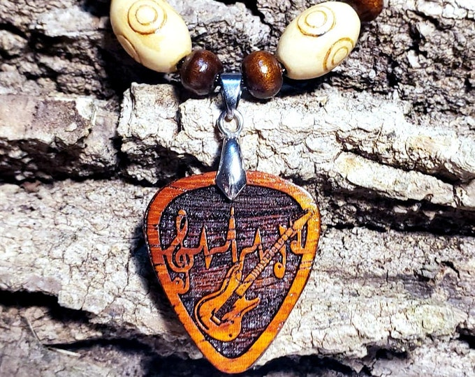 Gift For Musician Guitar Pick Necklace for Electric Guitar Player • Music Lover Pendant • Exotic Wood Guitar Charm • Band Member Gift