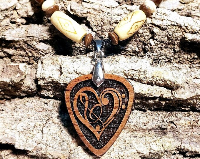 Music Lovers Pendant • Black Walnut Wooden Charm • Guitar Pick Shaped Trebel Clef Pendant •  Custom Musical Note Jewelry Gifts
