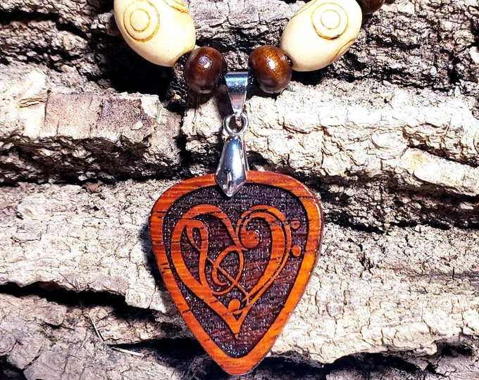 Music Teacher Gift • Music Charm Necklace Wood Jewelry • Custom Engraved Guitar Pick Necklace Pendant • Music Notes Jewelry Gift