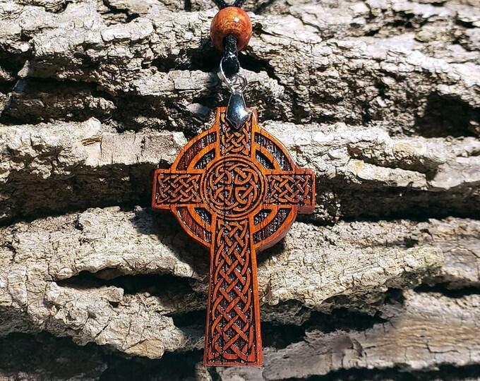 Celtic Cross Necklace For Men • Large Exotic Wood Cross Charm • Engraved Padauk Carved Wood Cross Pendant •  Custom Handmade Celtic Jewelry