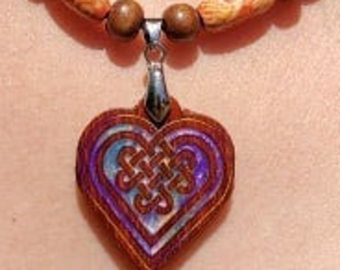 Irish Heart Knot Pendant • Hand Crafted Resin Inlaid Exotic Wooden Charm • Celtic Beaded Women's Necklace • Unique Jewelry Birthday Gift