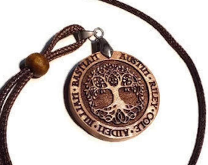 Father's Pendant Personalized Children's Names • Men's Celtic Necklace Engraved Wood Tree Of Life • Handmade Irish Gift For Dad Or Grandpa
