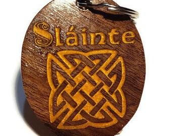 "Celtic Knot Keychain, Luggage Tag, Irish Key Ring. Ireland Toast Gaelic Word Slainte for ""Good Health"", Black Walnut Wood Golden Inlay."