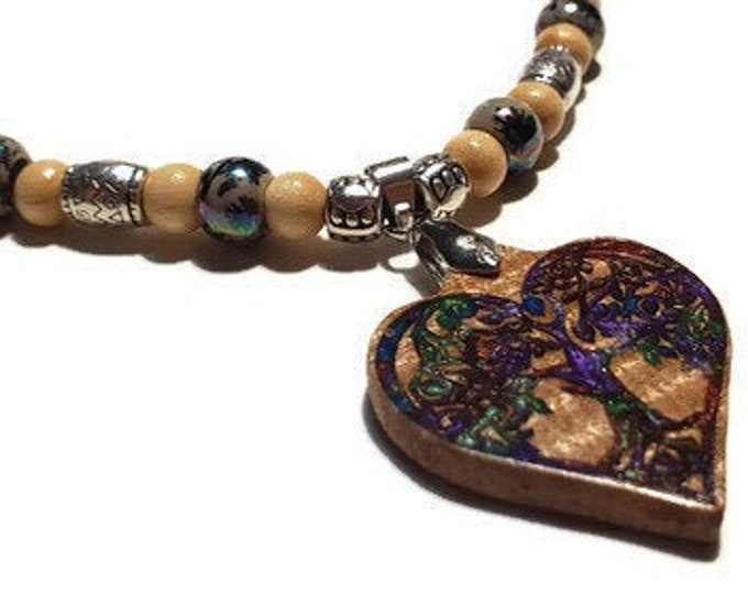 Heart-Shaped Pendant Celtic Necklace • Tree Of Life Pendant Wood Resin Jewelry • Ladies Necklace Irish Gift For Her Ireland Anniversary Gift