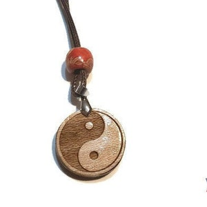 Laser Engraved Sun Moon Ying Yang Hippie Jewelry Boho Necklace Sun and Moon Necklace Yin Yang Wooden Necklace
