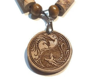 Ying Yang Dragon Necklace • Custom Wooden Dragon Yin & Yang Charm • Handcrafted Balance Pendant • Multiple Wood Bead Options • Personalize