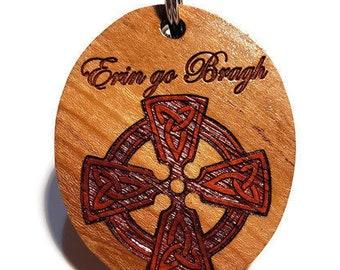 Celtic Cross Keychain, Luggage Tag or Irish Key Ring. Erin Go Bragh, Ireland Forever, Hand Crafted Engraved Cherry Inlaid Exotic Padauk Wood